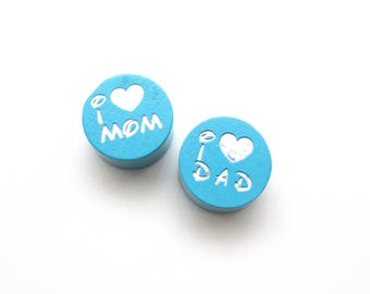 I Love Mom, I Love Dad Glitter Turquoise wooden bead
