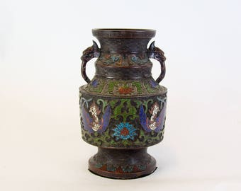 Large vase- Chinese cloisonné - bronze