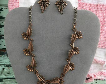 Vintage Autumn Leaves Necklace and Earrings Set