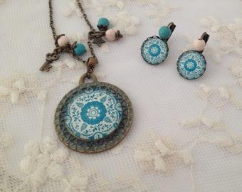 Set blue Mandala.
