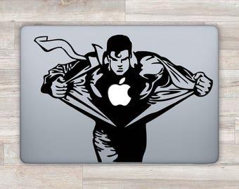 Superman MacBook Decal Superhero MacBook Sticker MacBook Pro MacBook Air Apple Logo Decal Justice League Laptop Sticker Retina 11 13 m1217
