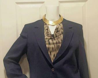 Vintage Oscar de la Renta Navy Blue Blazer Jacket.  B