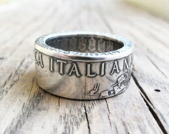 Silver Coin Ring Italy - Silver ring of Italy coins - Rings from Coins - Italian jewelry - Coin Rings Handmade from Italian 500 Lire