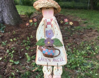 Crafted Wood, Metal, and Sparkles Garden Angel