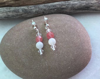 Mother of pearl & cherry quartz stud drop earrings