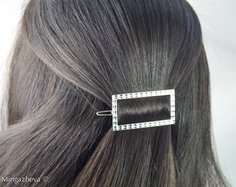 Rectangle  square  hair pin bobby pin silver gold