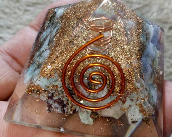 Larimar Natural Stone Orgone Pyramid With Copper- Pyrite 50 MM