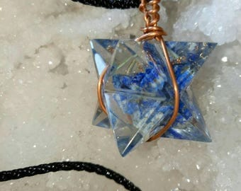 ORGONE Lapis Lazuli Stone Crystal MERKABA Star Pendant, With Copper Wrap and Chain, Orgonite, Reiki Healing, Sacred Geometry