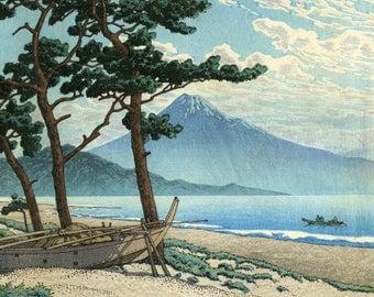 "Japanese Art Print ""Pine Beach at Miho"" by Kawase Hasui, woodblock print reproduction, landscape, clouds, ocean, seashore, Mt. Fuji, Japan"