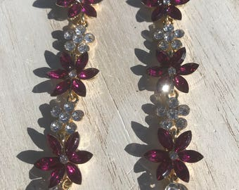 Christmas Earrings Pointsettia Crystals