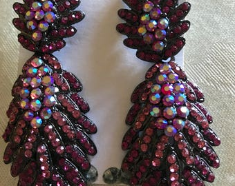 Fuchsia  Pave Cluster  Earrings