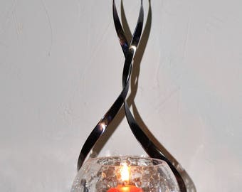 Candle ball translucent crackled glass on a wrought iron stand
