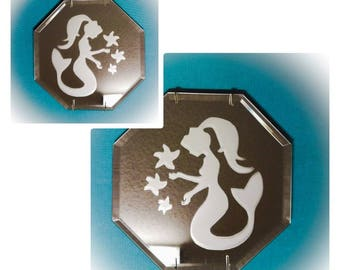 Frosted Mermaid Mirror Set
