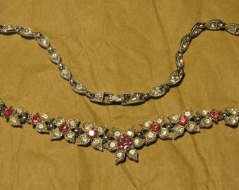 Vintage BOGOFF Pink and White Rhinestone Flower Necklace