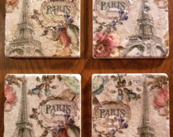 Coasters Paris Gifts Eiffel Tower Cup Holders French Stone Cork Barware Protect Furniture Home Decor Drinks French Drinkware