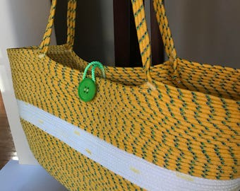 Yellow coiled rope beach tote