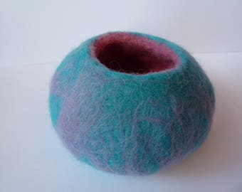 Wet Felted Bowl, vessel, pot, eco friendly, natural fibres, small storage pot, bedroom accessory, desk accessory, textile art, small bowl