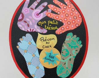 Wall decoration with your baby's or child's prints! Wall hanging with your baby or child's footprints!