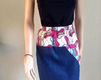 Cotton summer skirt certified WAX and indigo jeans 38/40/42