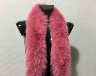 Beautiful Real Natural Tone of Pink Fox Small Fur Scarf Collar