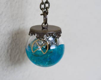 Necklace with glass ampoule, colored resin, gears and stones, steampunk necklace, gift for her