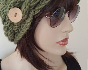 Slouchy Beanie Cable Hat Hand Knit Winter Women Hat  Olive Green Hat