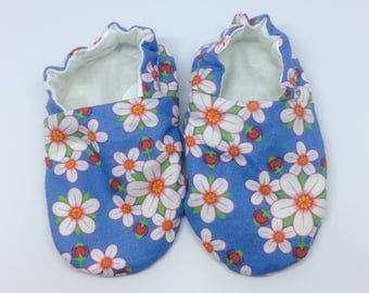 Floral Baby Girl Booties, Reversible Crib Shoes