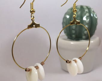 Golden beads hoop earrings White Pearl