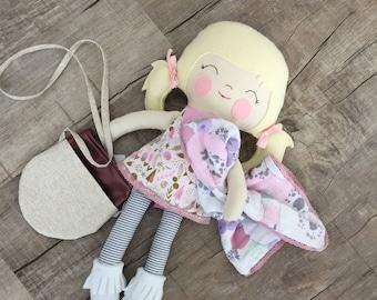 Minni lovey/ taggie blanket / Freshcut pastel Double Gauze Muslin lovey /security blanket or burpcloth