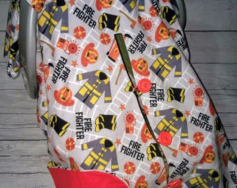 Fire Fighter Car Seat Canopy With Opening/Nursing Cover