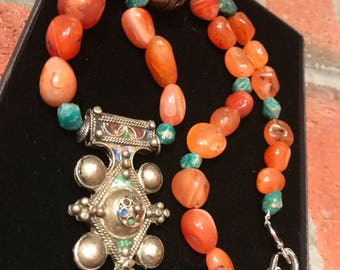 Morrocan Boghdad Berber Tuareg old silver cross & Carnelian with old faceted Amazonite North African necklace.