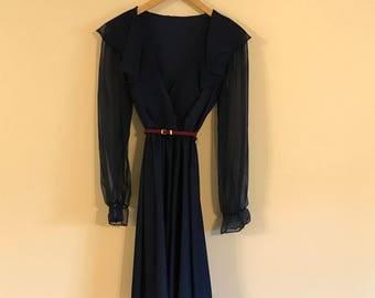 Vintage 70's Navy Blue Chiffon & Sheer Dress