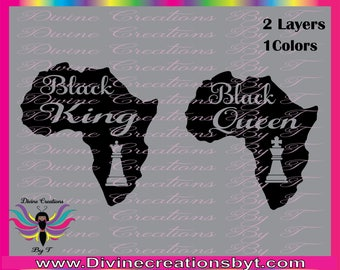 Black Queen and King  (SVG,DXF,EPS) (made by me)
