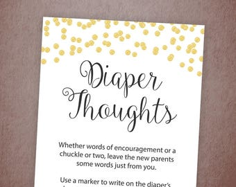 Diaper Thoughts Baby Shower Printable, Gold Confetti, Late Night Diapers Sign, Baby Shower Games, Activities, Instant Download, B001