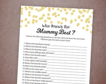 Who Knows Mommy Best, Baby Shower Game Printable, Gold Confetti, How Well Do You Know the Mommy to Be, Games & Activity Card, Quiz, B001