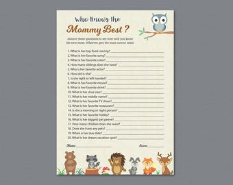 Who Knows Mommy Best, Woodland Baby Shower Games Printable, How Well Do You Know the Mommy to Be, Forest Animals, Fox, Bear, Owl, Quiz, B009