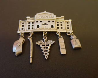 Vintage JJ Hospital/Nurse Brooch.  Very Nice Piece