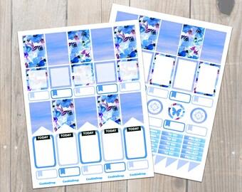 Blue Watercolor Florals Happy Planner Stickers