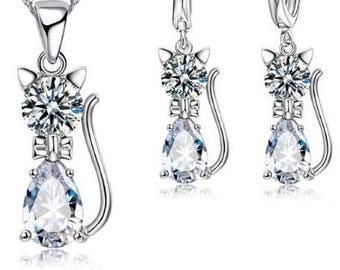 Kitty Rhinestone, Crystal, CZ necklace set, wedding bridal jewelry set costume flower girl, kids girl