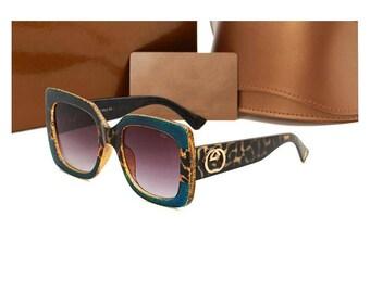 """Designer """"G"""" Square Designer Inspired sunglasses Blue leopard Oversized"""