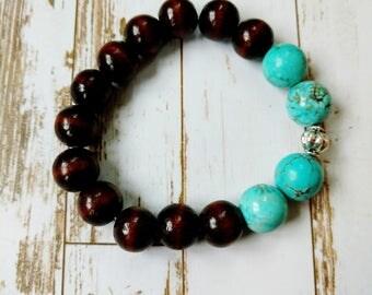 Wood and turquoise beaded bracelet
