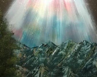 16x20 original northern lights landscape oil painting