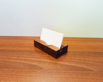 Wood Contact Card Holder. Wood Business Card Stand.Wooden Card Holder.Office Display.Personalized Business Card Holder.