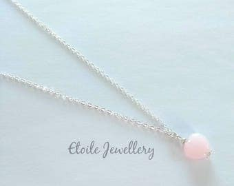 Pink Heart Necklace, Silver Chain, Heart Necklace, Heart Charm, Heart Pendant, Gifts for Women
