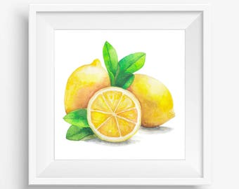 Fruit Print, Lemons Printable, Yellow lemon print, Watercolor lemons, Watercolor Painting, Lemons Art, Kitchen decor, Kitchen printable