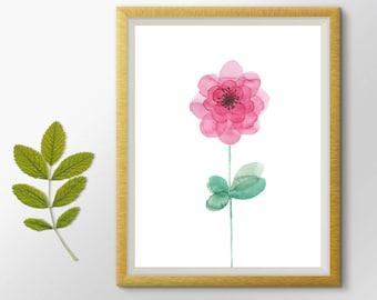 Flower Watercolor Painting, Flower Print, Nursery wall art, Cute Art, Nursery decor, Flower Printable art, Botanical Print, Floral Art