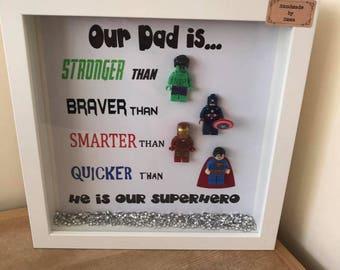 Dad superhero lego frame