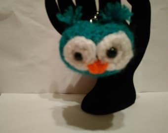 Amigurumi crochet owl keyring