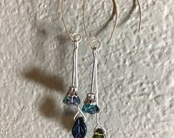 Blue bell flower and iridescent glass leaves on sterling silver ear wires