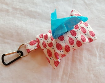 Dog Poop Bag Dispenser - Clip on Style - White with Pink Feathers